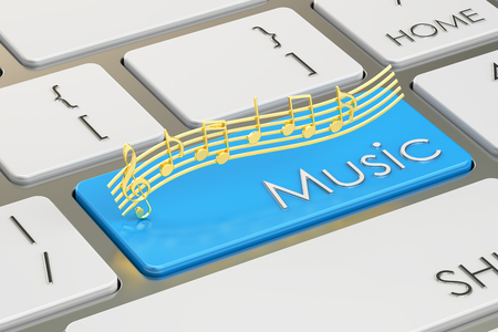 audition: music button, key on  keyboard. 3D rendering