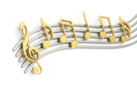 Music notes, 3D rendering isolated on white background Stock Photo