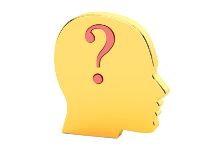 Question concept. Human golden head with question mark. 3D rendering isolated on white background