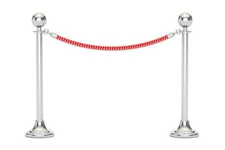 stanchion: barrier rope closeup, 3D rendering isolated on white background Stock Photo