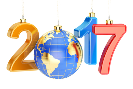 New Year 2017 concept, 3D rendering isolated on white background Stock Photo