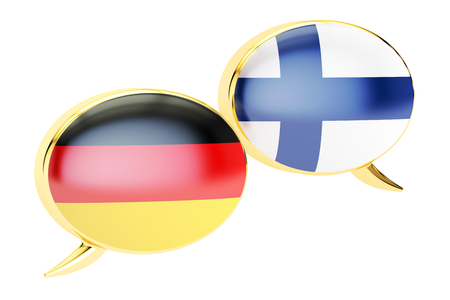 Speech bubbles, German-Finnish conversation concept. 3D rendering isolated on white background