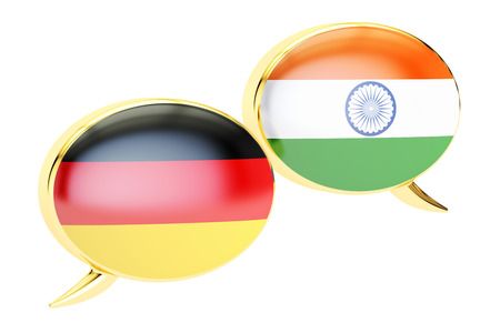 Speech bubbles, German-Indian  translation concept. 3D rendering Stock Photo