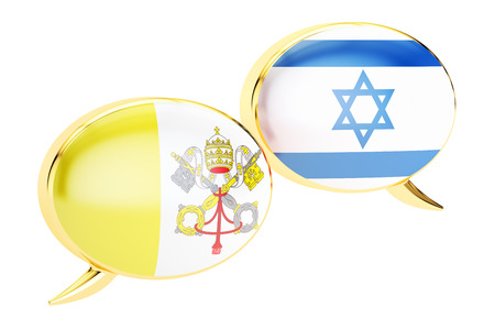 Speech bubbles, Latin-Israeli conversation concept. 3D rendering Stock Photo