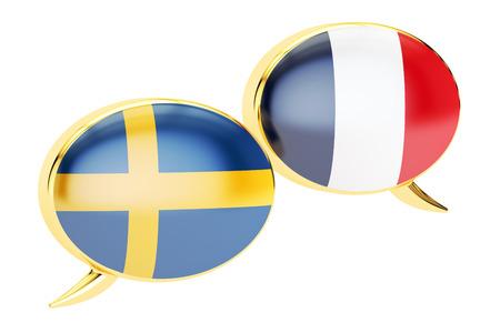 Speech bubbles, Swedish-French conversation concept. 3D rendering