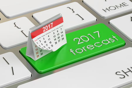 planning: 2017 planning concept on the keyboard, 3D rendering Stock Photo