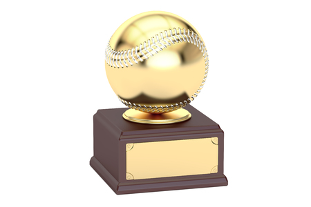 Gold award cup baseball, 3D rendering