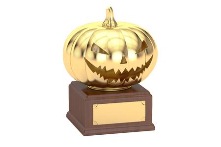 Golden Halloween Pumpkin Award, 3D rendering isolated on white background Stock Photo