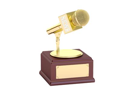 journalism: golden journalism award, 3D rendering Stock Photo
