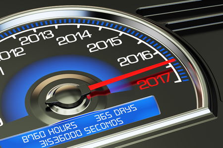 new years background: Conceptual 2017 year speedometer, 3D rendering