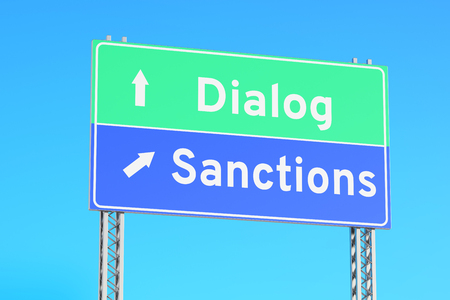right vs wrong: sanctions or dialog green road signs, 3D rendering