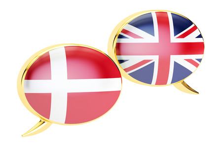 danish flag: Speech bubbles, Danish-English conversation concept. 3D rendering Stock Photo