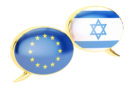 Speech bubbles, EU-Israeli conversation concept. 3D rendering isolated on white background Stock Photo