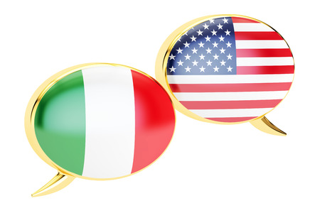 Speech bubbles, Italian-USA conversation concept. 3D rendering isolated on white background Stock Photo
