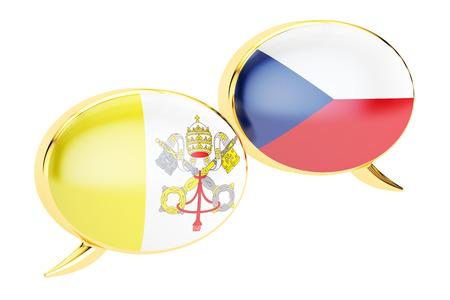 Speech bubbles, Latin-Czech conversation concept. 3D rendering
