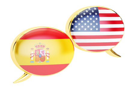 Speech bubbles, Spanish-USA conversation concept. 3D rendering isolated on white background