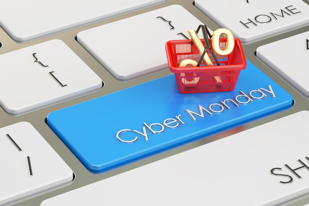 Cyber Monday concept on the keyboard, 3D rendering