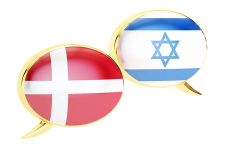 danish flag: Speech bubbles, Danish-Israeli conversation concept. 3D rendering