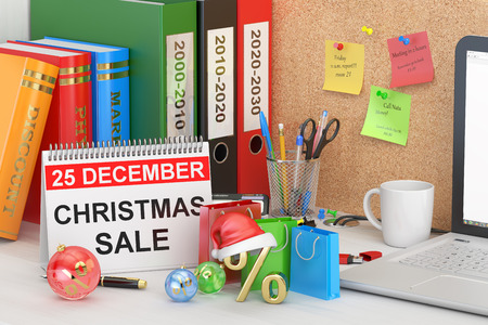 organizer: Christmas Sale concept, 3D rendering