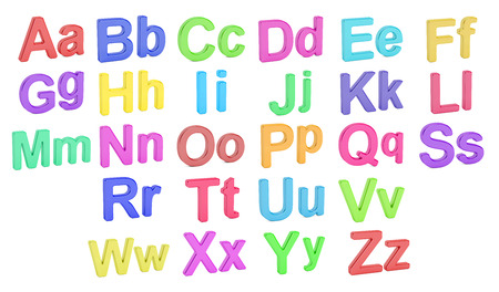 large group of objects: Colored alphabet, large and small  letters, 3D rendering isolated on white background Stock Photo