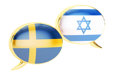 Speech bubbles, Israeli-Swiss conversation concept. 3D rendering Stock Photo