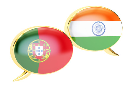 translation: Speech bubbles, Portuguese-Indian  translation concept. 3D rendering