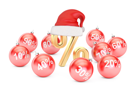 Christmas Discount and Sale concept, 3D rendering isolated on white background