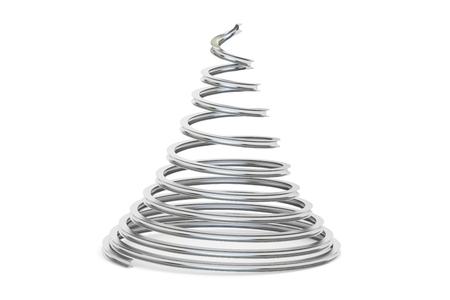 metallic: Metallic Christmas Tree, 3D rendering isolated on white background