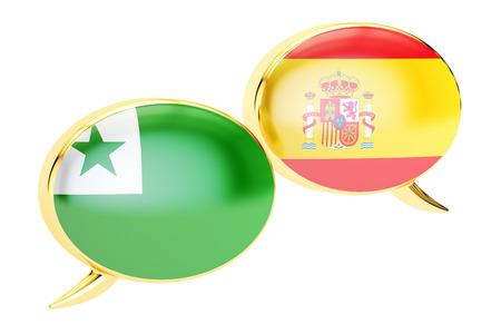 Speech bubbles, Spanish-Esperanto conversation concept. 3D rendering Stock Photo
