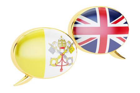 Speech bubbles, Vatican-UK conversation concept. 3D rendering