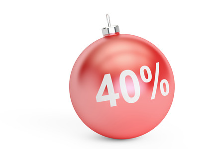 Christmas Sale 40% concept, 3D rendering isolated on white background
