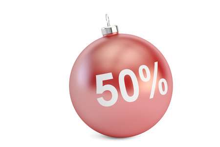 Christmas Sale 50% concept, 3D rendering isolated on white background