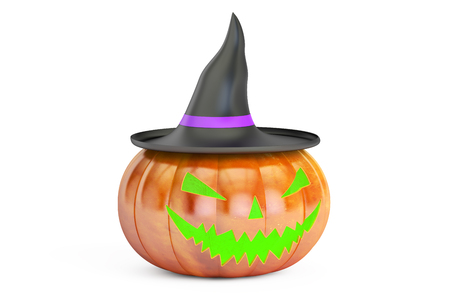 Halloween Pumpkin in Witch Hat, 3D rendering isolated on white background