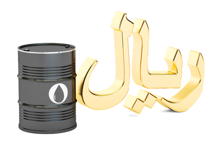 import trade: oil barrel and Saudi riyal symbol, 3D rendering isolated on white background
