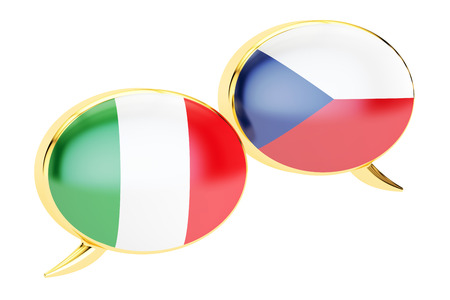 Speech bubbles, Czech-Italian conversation concept. 3D rendering