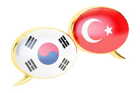 Speech bubbles, Korean-Turkish translation concept. 3D rendering