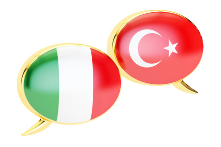 Speech bubbles, Turkish-Italian conversation concept. 3D rendering