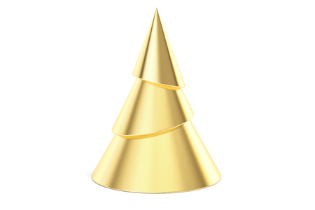 Abstract Golden Christmas Tree, 3D rendering isolated on white background Stock Photo