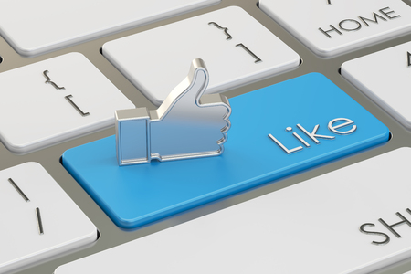 like button: Like Button on the keyboard, 3D rendering