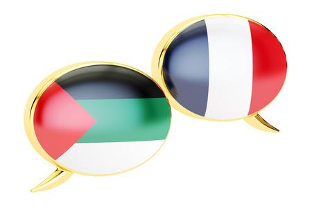 Speech bubbles, Arabian-French translation concept. 3D rendering
