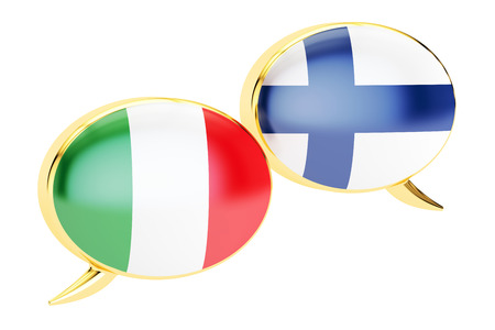 Speech bubbles, Italian-Finnish translation concept. 3D rendering Stock Photo