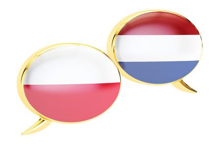 Speech bubbles, Polish-Dutch translation concept. 3D rendering