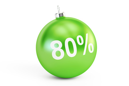 christmas savings: Christmas Sale concept, 80% 3D rendering isolated on white background