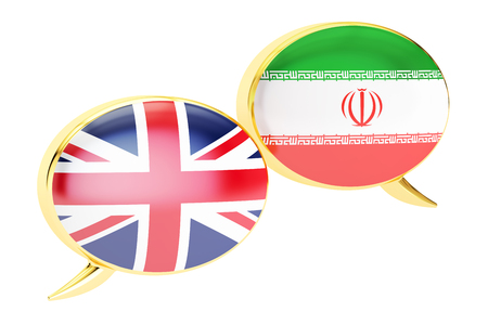 Speech bubbles, English-Iranian conversation concept. 3D rendering
