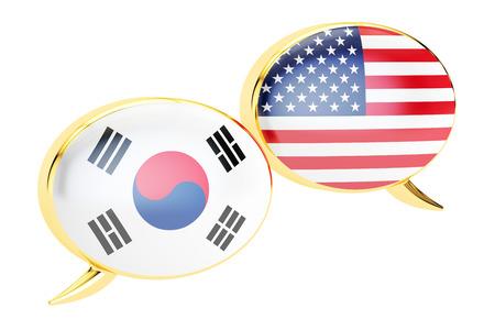 Speech bubbles, South Korea-USA conversation concept. 3D rendering