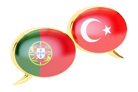Speech bubbles, Turkish-Portuguese conversation concept. 3D rendering