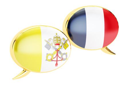 Speech bubbles, Vatican-France conversation concept. 3D rendering Stock Photo