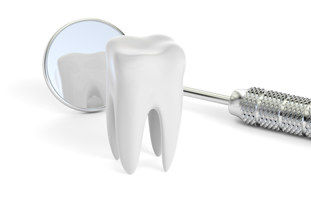 Dental concept, mouth mirror and  tooth, 3D rendering Stock Photo