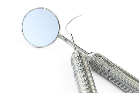 dental instruments closeup, 3D rendering isolated on white background Stock Photo