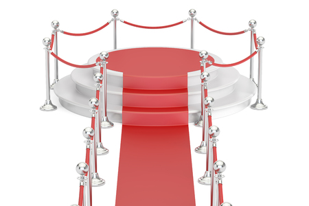 barrier rope: Empty podium with red carpet and barrier rope, 3D rendering isolated on white background